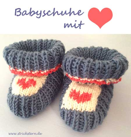 babyschuhe stricken mit herz strickstern. Black Bedroom Furniture Sets. Home Design Ideas