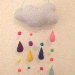 Spieluhr / Mobile nähen: Wolke mit bunten Tropfen