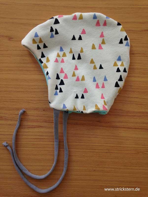 Babymütze nähen - Wendemütze zum Binden - Strickstern